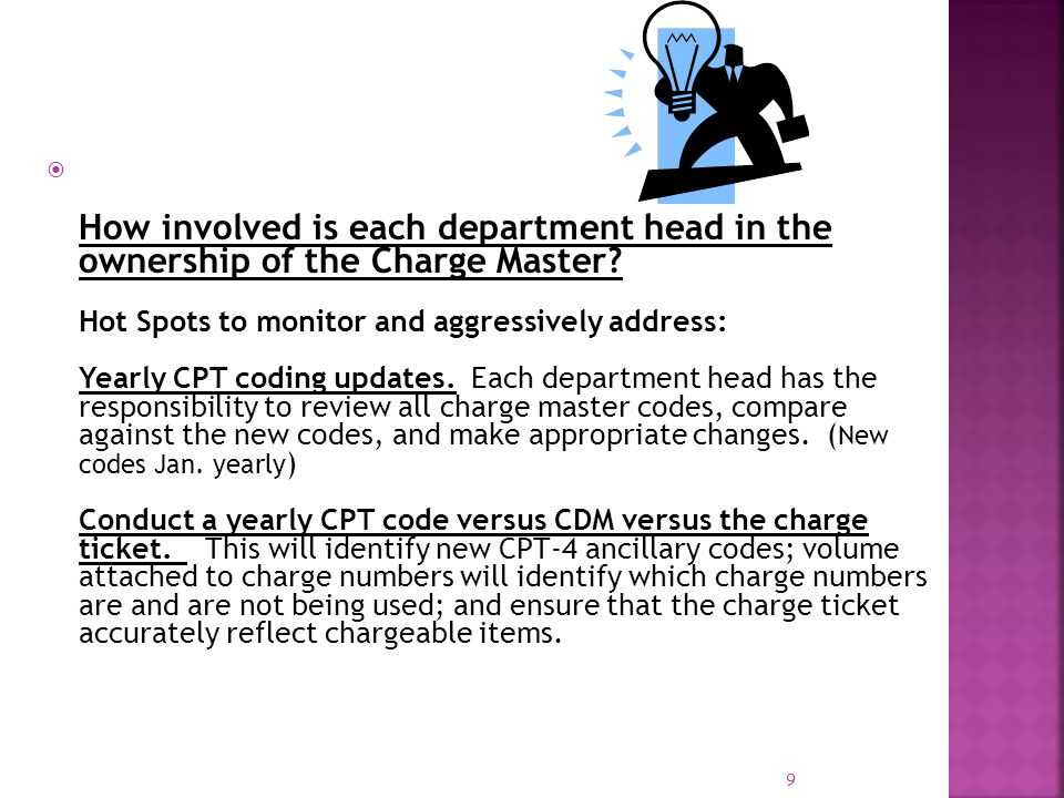 How involved is each department head in the ownership of the Charge Master.