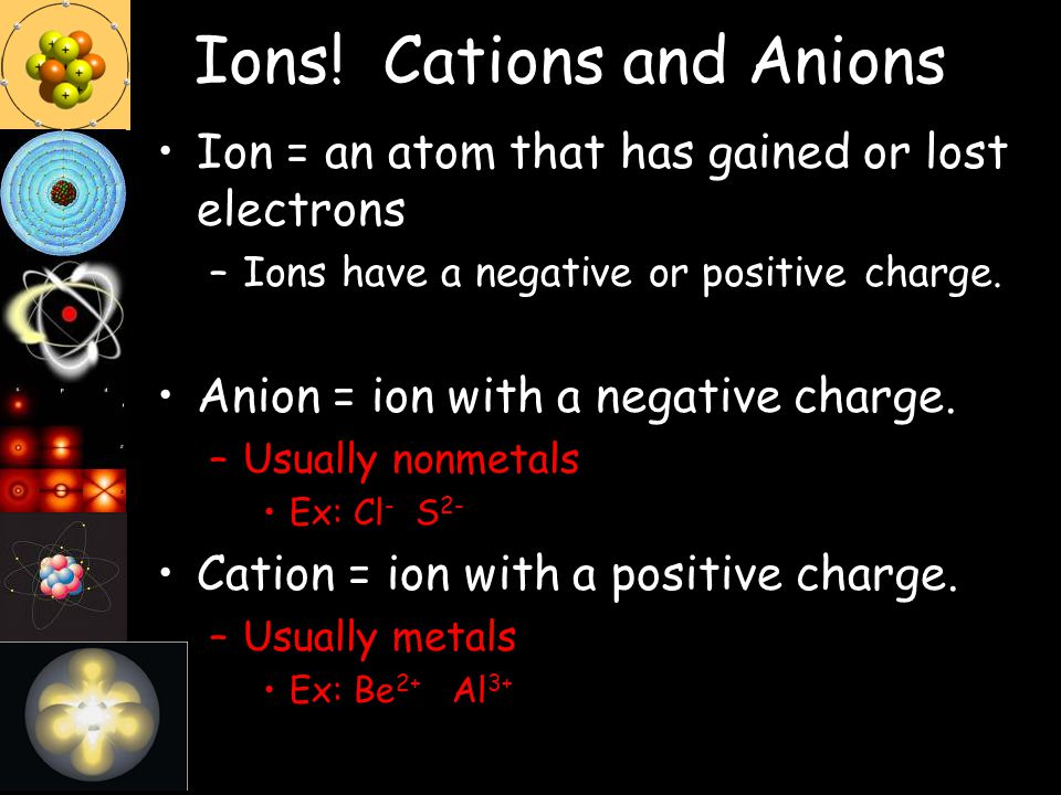 Ions! Cations and Anions