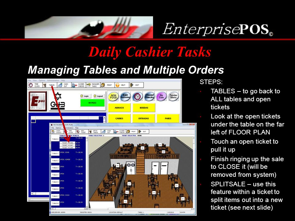 Daily Cashier Tasks Managing Tables and Multiple Orders STEPS: