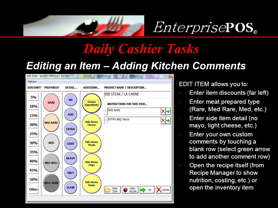 Daily Cashier Tasks Editing an Item – Adding Kitchen Comments