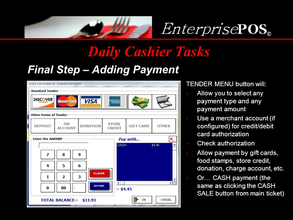 Daily Cashier Tasks Final Step – Adding Payment