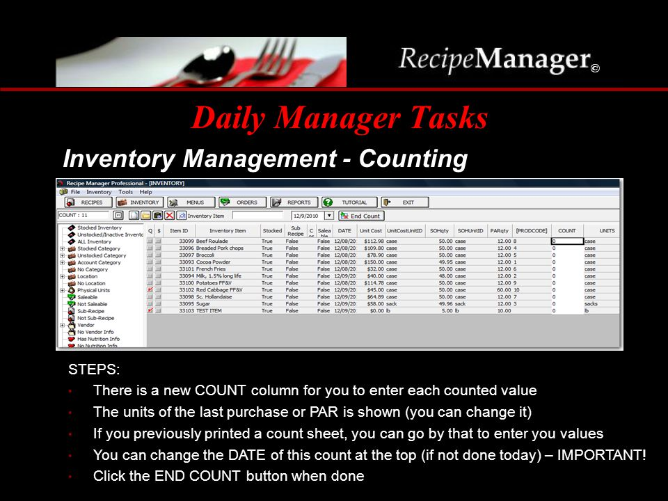 Daily Manager Tasks Inventory Management - Counting STEPS: