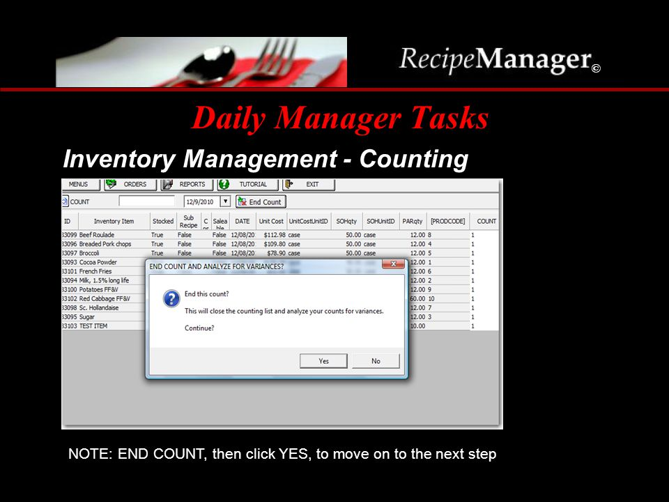 Daily Manager Tasks Inventory Management - Counting