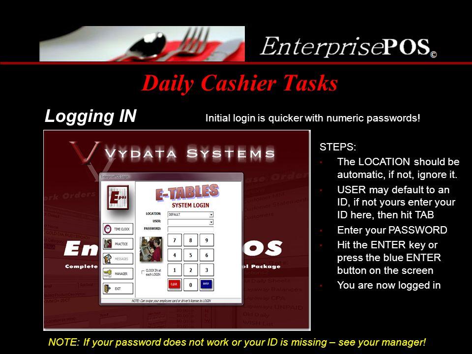 Daily Cashier Tasks Logging IN