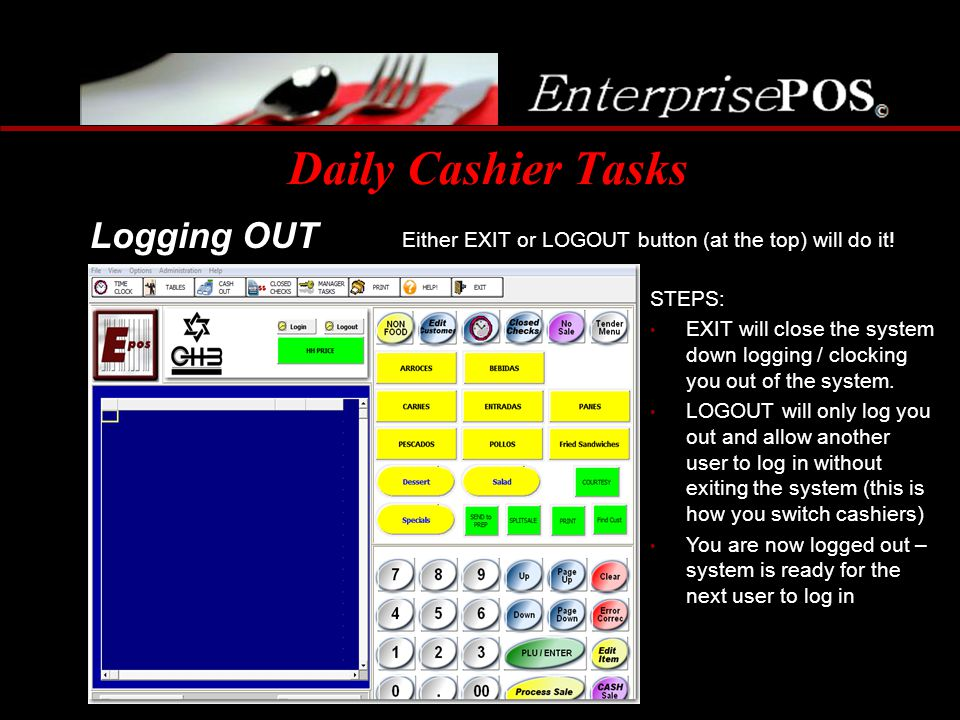 Daily Cashier Tasks Logging OUT