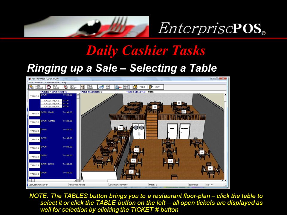 Daily Cashier Tasks Ringing up a Sale – Selecting a Table
