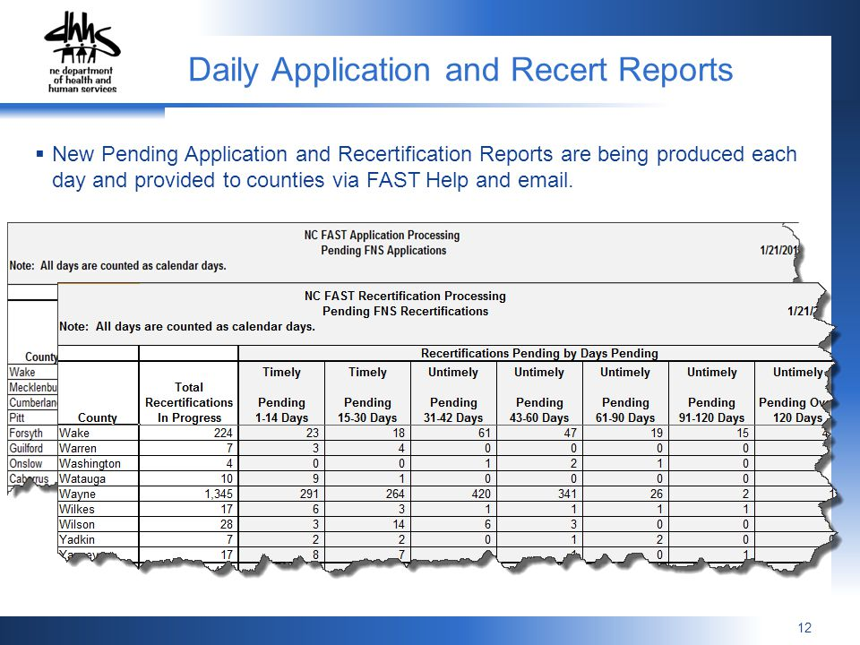 Daily Application and Recert Reports