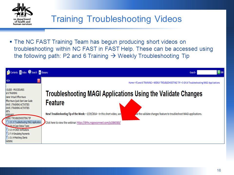 Training Troubleshooting Videos