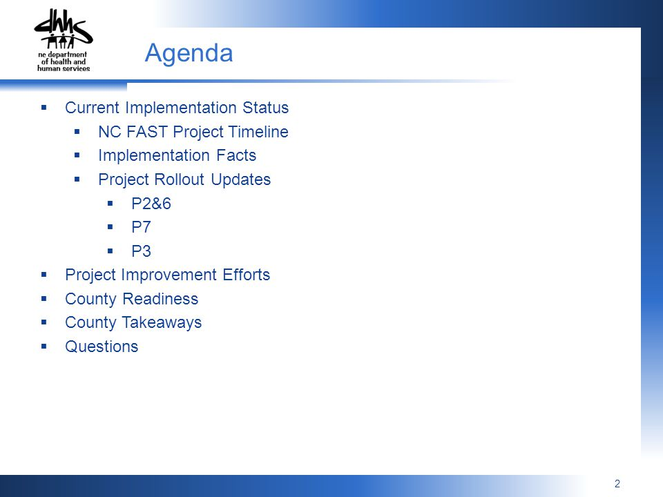 Agenda Current Implementation Status NC FAST Project Timeline