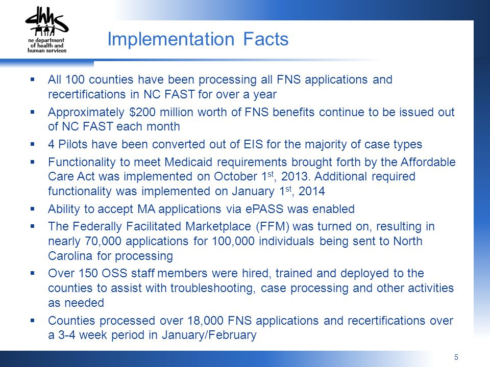 Implementation Facts All 100 counties have been processing all FNS applications and recertifications in NC FAST for over a year.