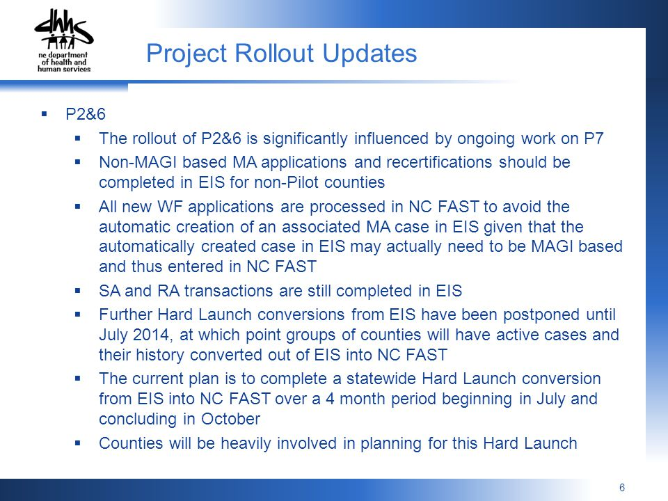 Project Rollout Updates