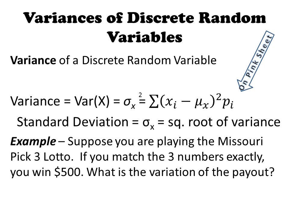 Variances of Discrete Random Variables