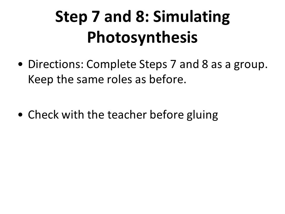 Step 7 and 8: Simulating Photosynthesis