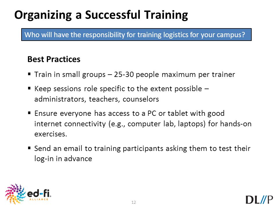 Organizing a Successful Training