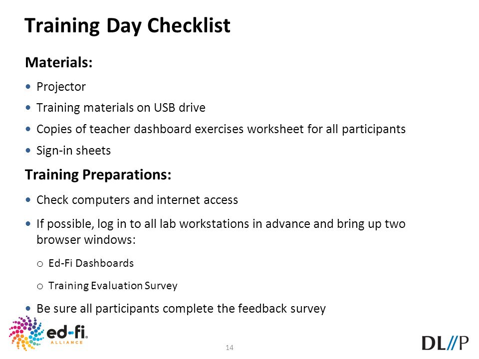 Training Day Checklist