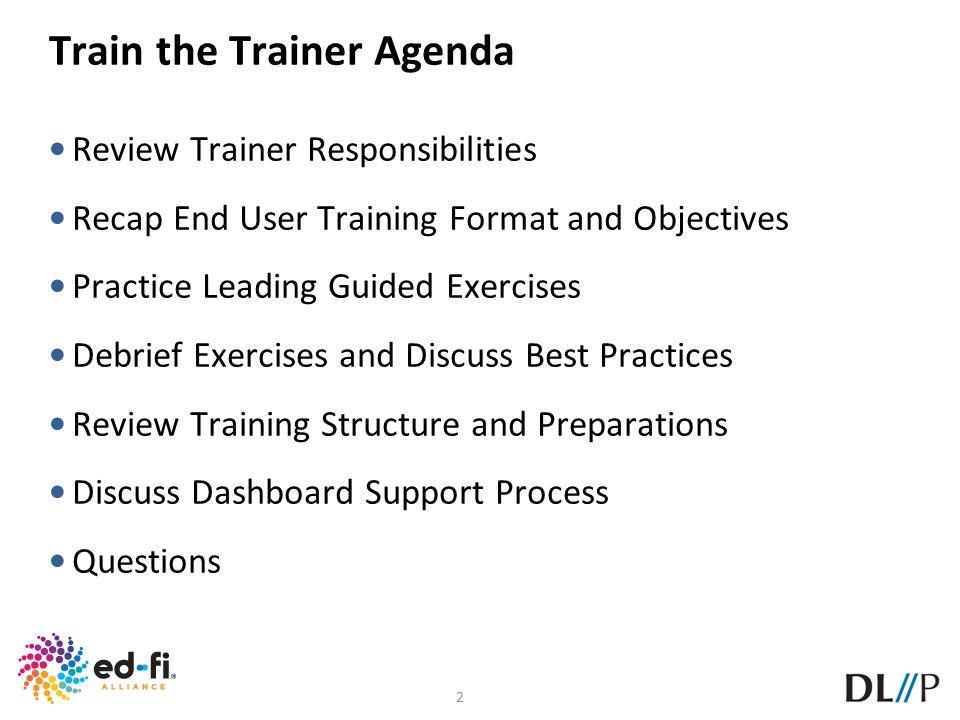 Train the Trainer Agenda