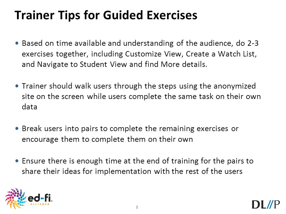 Trainer Tips for Guided Exercises