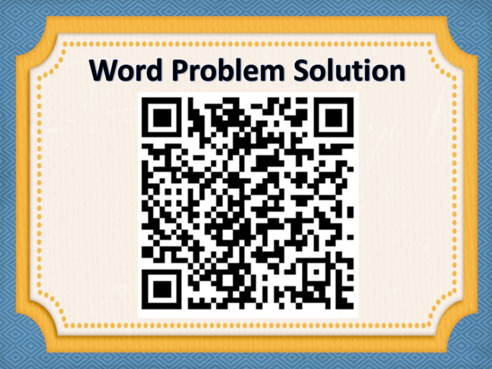 Word Problem Solution
