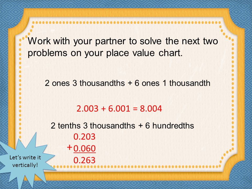 Work with your partner to solve the next two problems on your place value chart.