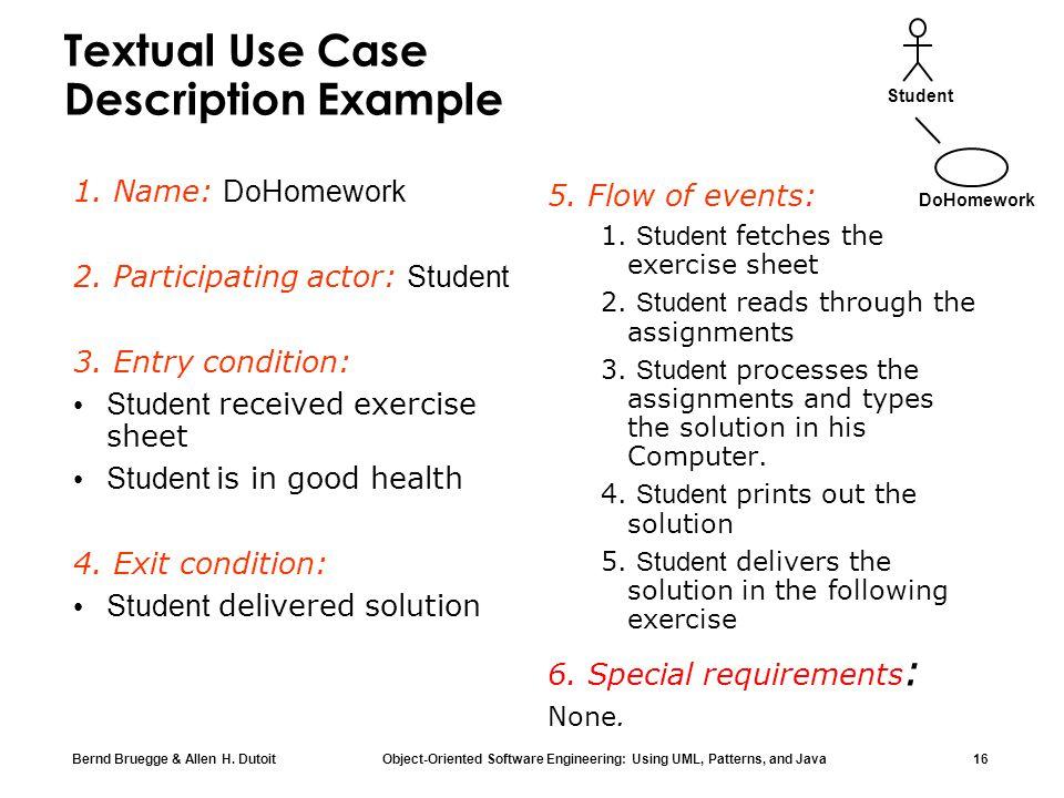 Textual Use Case Description Example