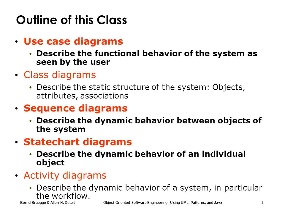 Outline of this Class Use case diagrams Class diagrams
