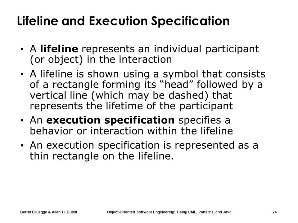 Lifeline and Execution Specification