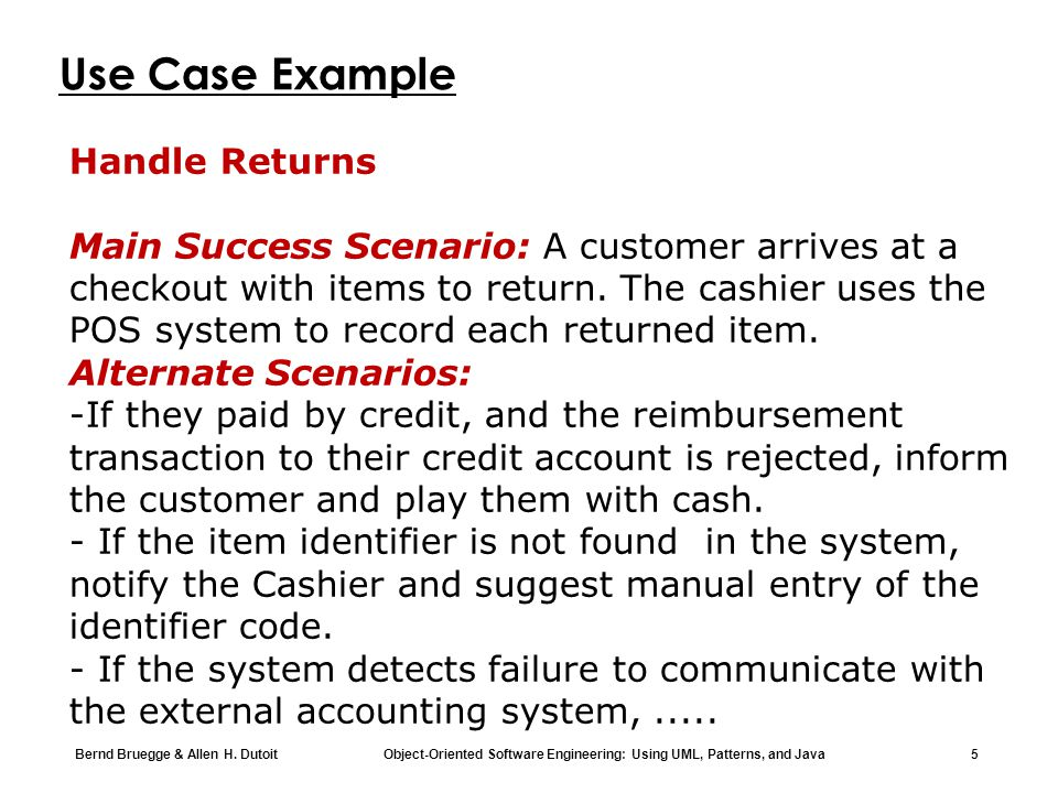 Use Case Example Handle Returns