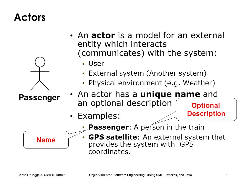 Actors An actor is a model for an external entity which interacts (communicates) with the system: User.