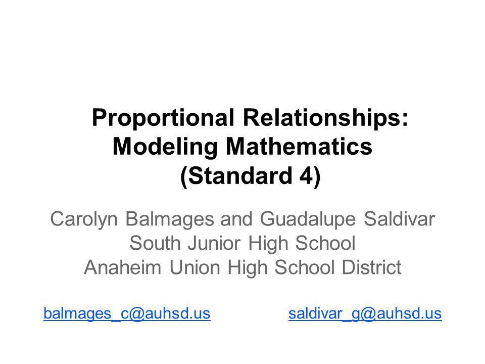 Proportional Relationships: Modeling Mathematics (Standard 4)