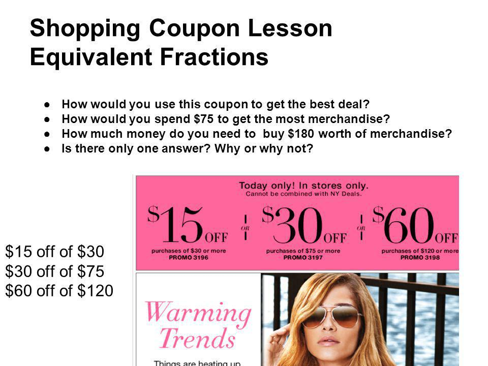 Shopping Coupon Lesson Equivalent Fractions