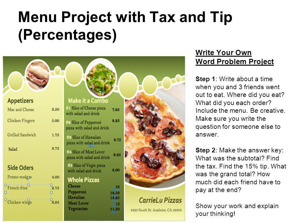 Menu Project with Tax and Tip (Percentages)