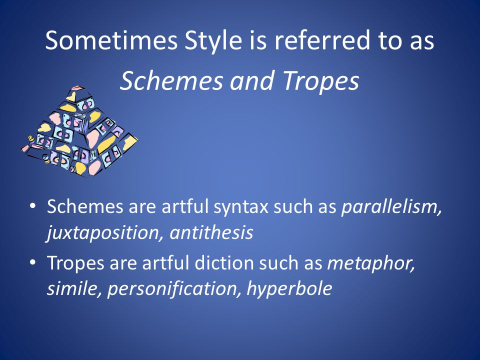 Sometimes Style is referred to as Schemes and Tropes