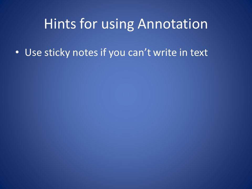Hints for using Annotation