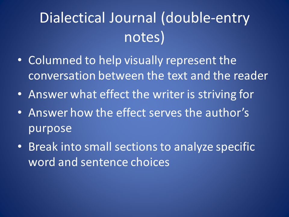 Dialectical Journal (double-entry notes)