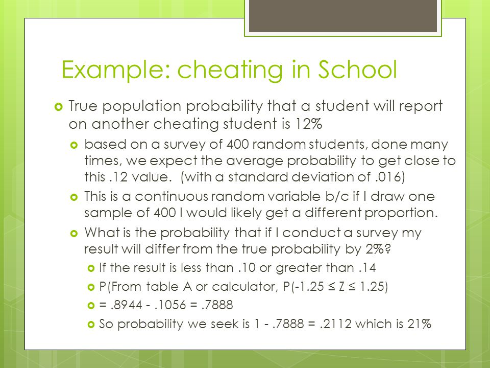 Example: cheating in School