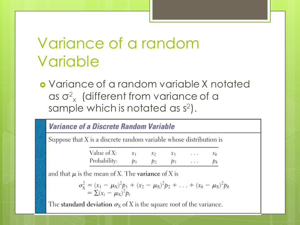 Variance of a random Variable