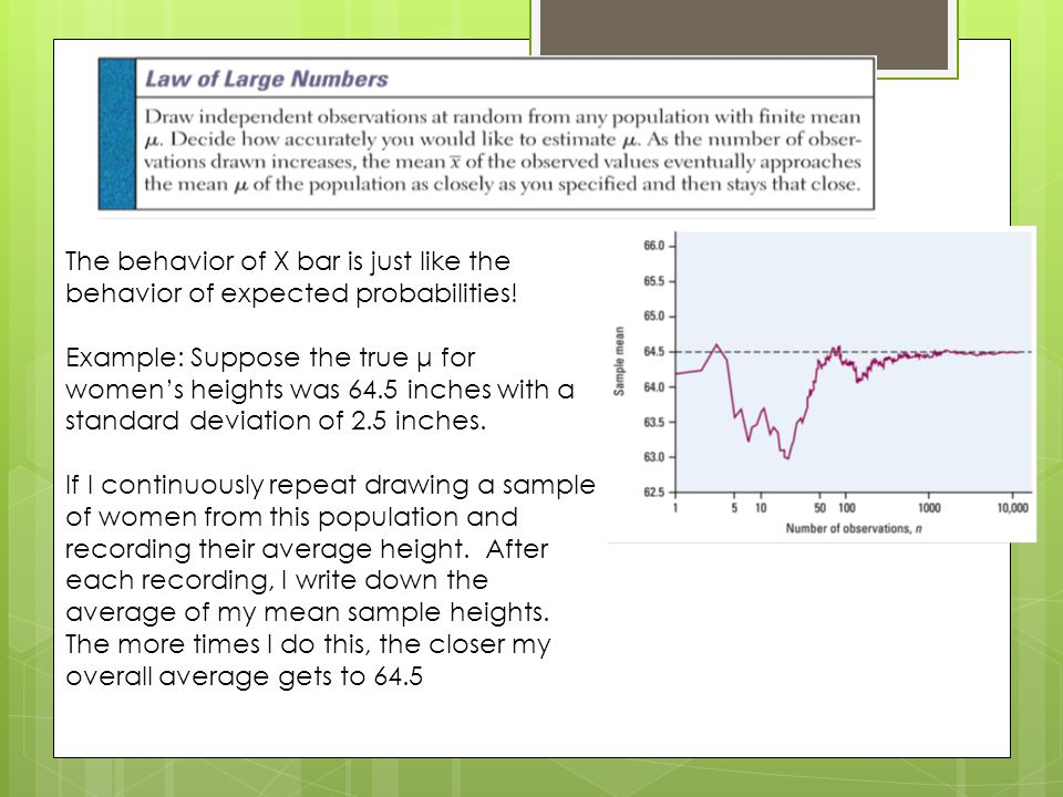 The behavior of X bar is just like the behavior of expected probabilities!