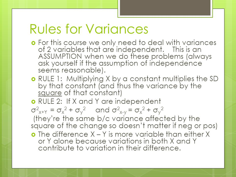 Rules for Variances