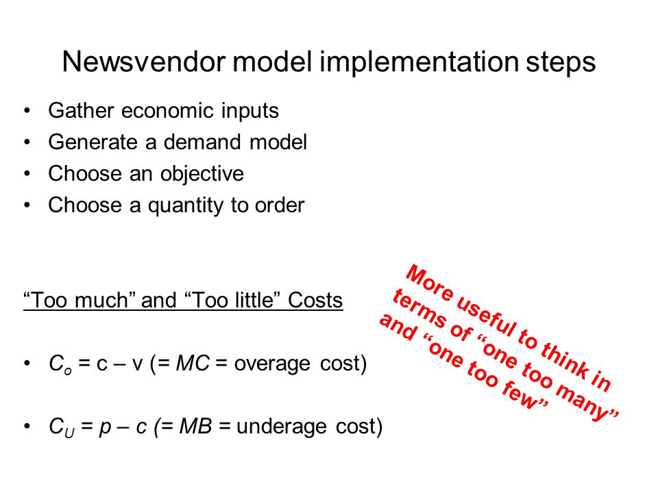 Newsvendor model implementation steps