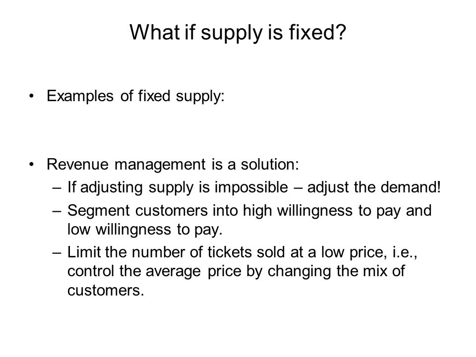 What if supply is fixed Examples of fixed supply: