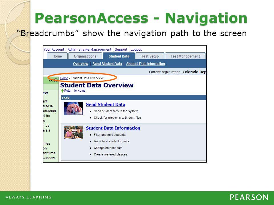 PearsonAccess - Navigation