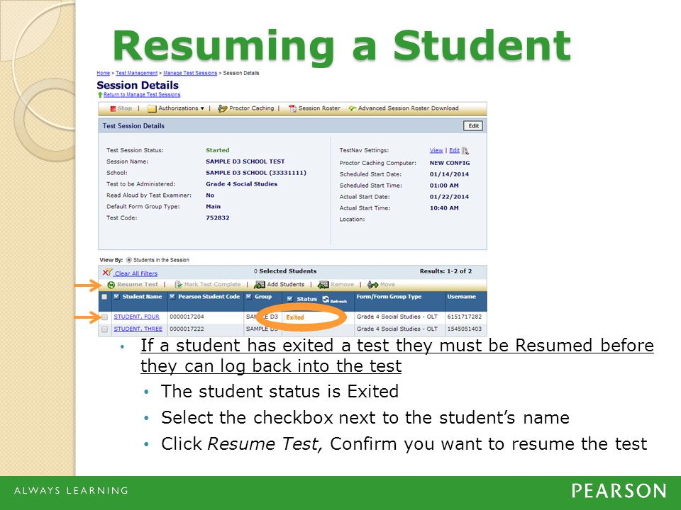 Resuming a Student