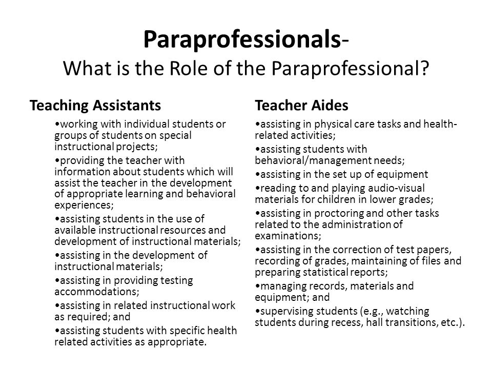 Paraprofessionals- What is the Role of the Paraprofessional