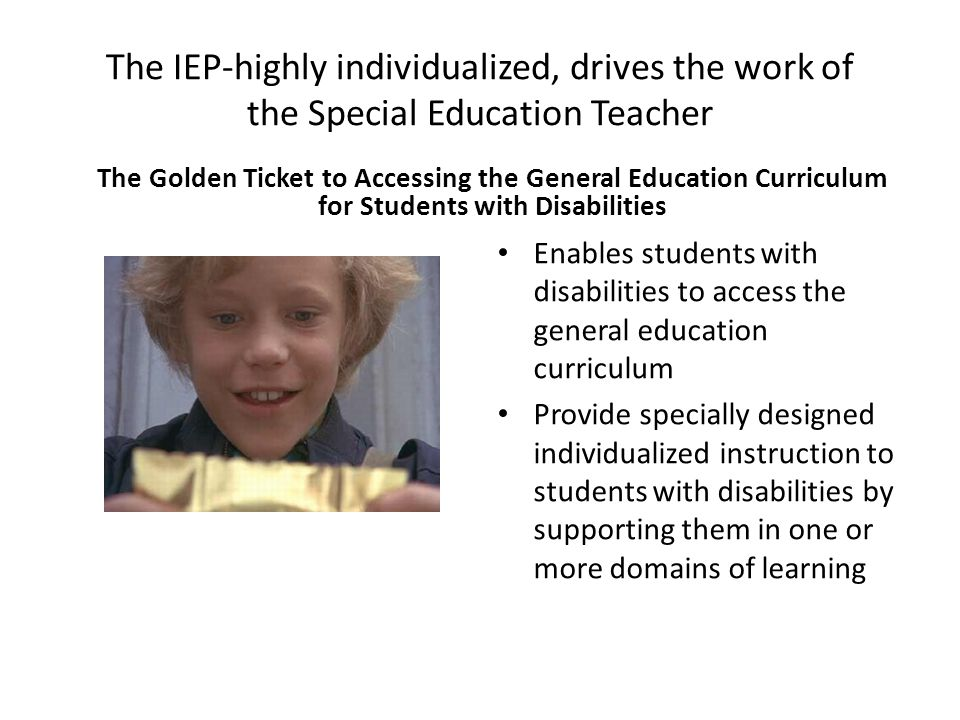 The IEP-highly individualized, drives the work of the Special Education Teacher