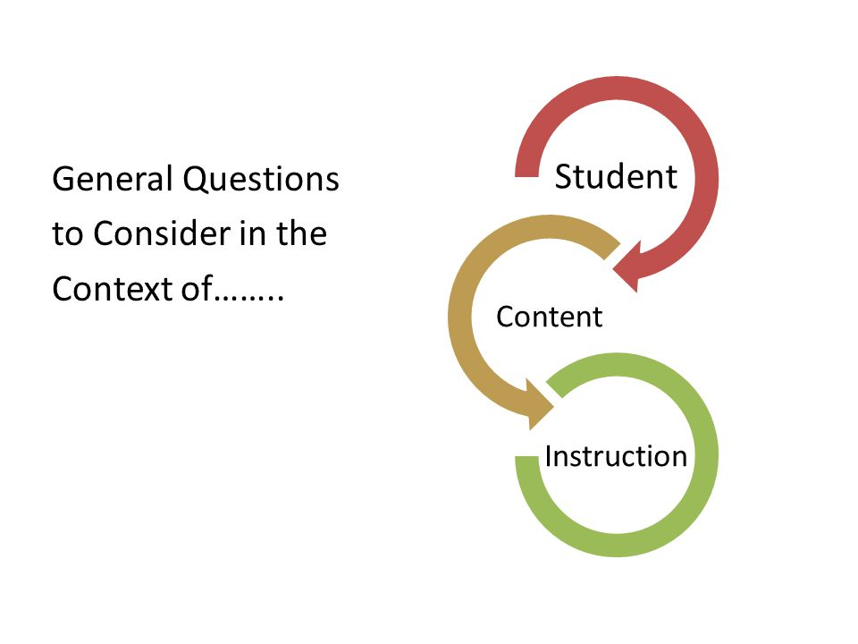 General Questions to Consider in the Context of……..