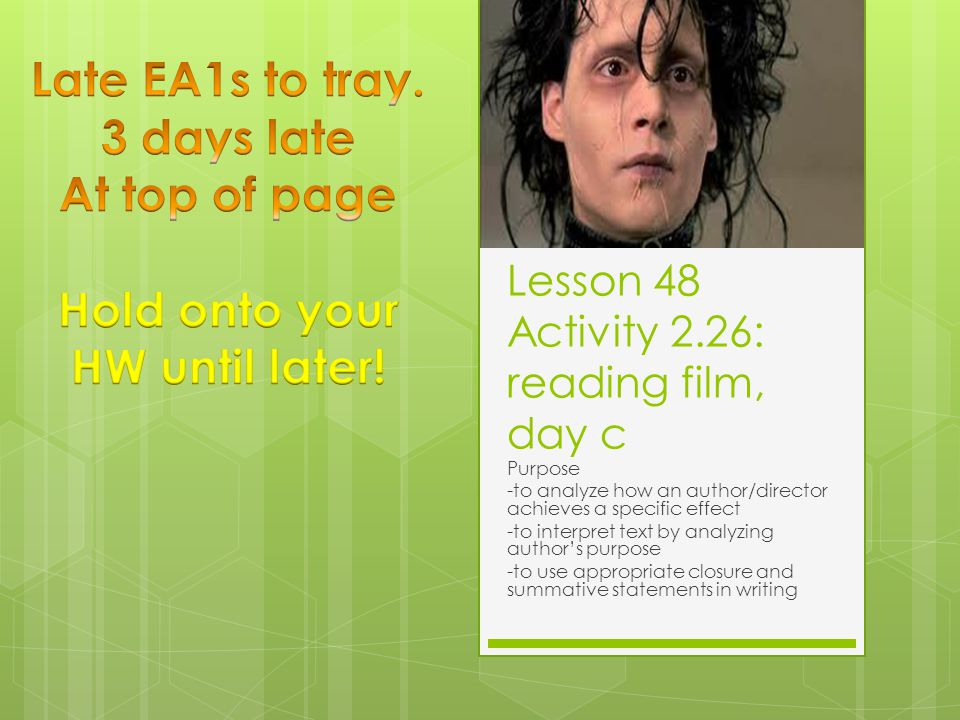 Lesson 48 Activity 2.26: reading film, day c