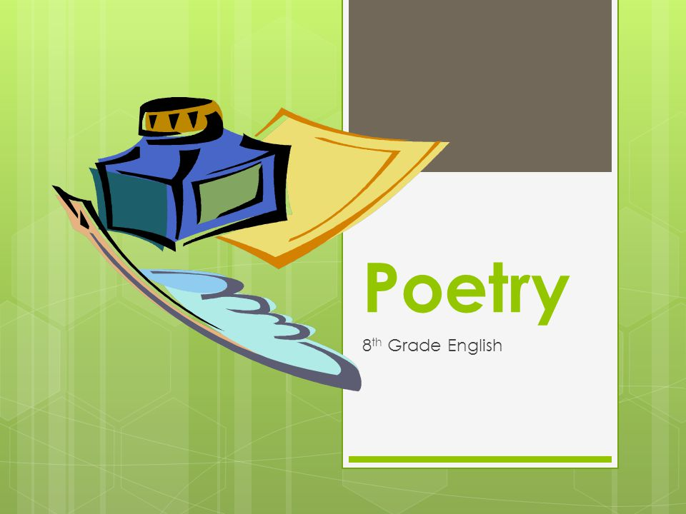Poetry preassessment on 1/10/13 8th Grade English