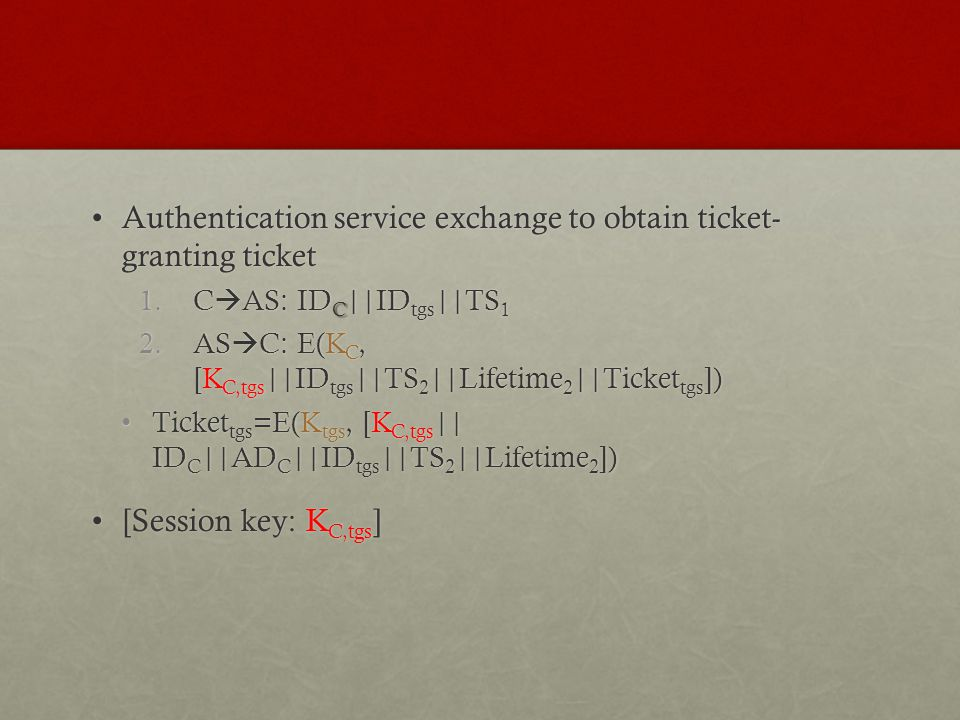 Authentication service exchange to obtain ticket- granting ticket