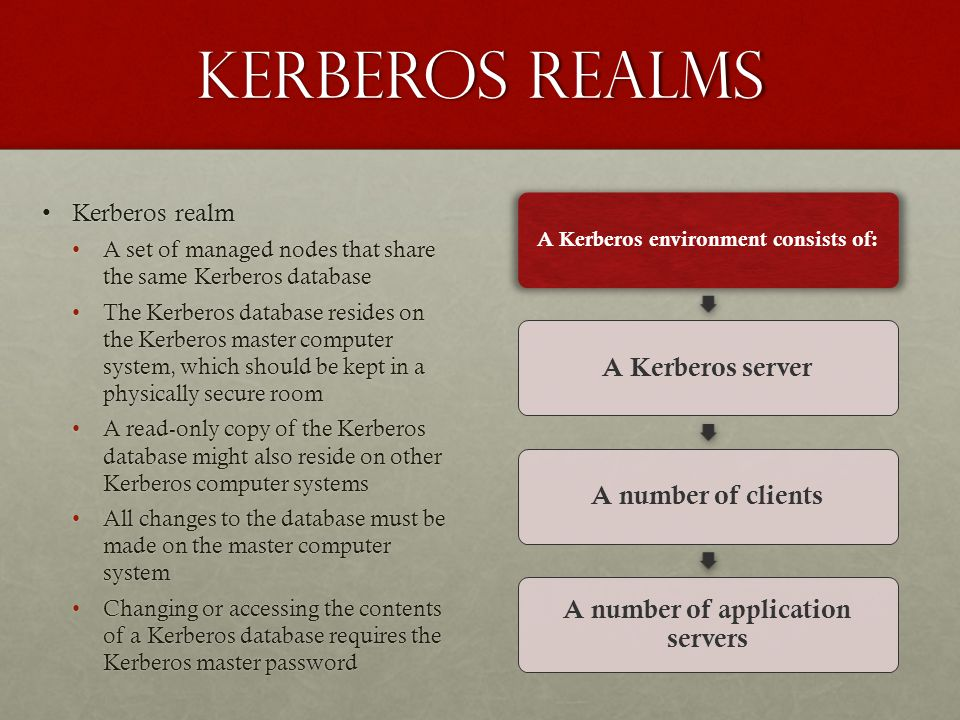 A Kerberos environment consists of: A number of application servers