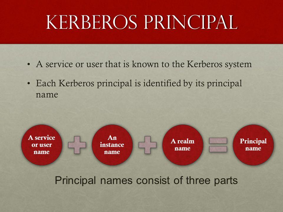 Kerberos principal Principal names consist of three parts